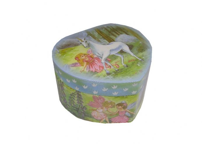 Heart shaped childrens musical jewellery Box with fairy figure and unicorn design which revolves to the music The Magic Flute.
